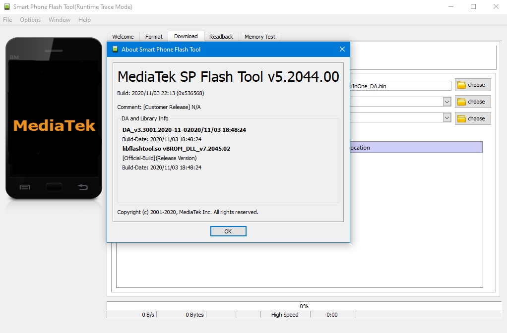 SPFlash Tool version 5.2044.00.000 - image on Hardreset.info