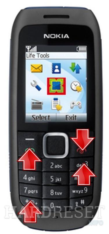 إعادة تعيين الإعدادات يدويا Nokia 1616 عرض المزيد Hardreset Info