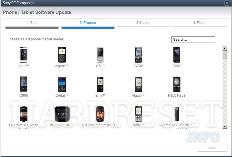 Remove screen password SONY ERICSSON Live with Walkman WT19i