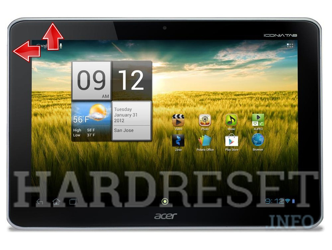Factory Reset ACER A210 Iconia Tab