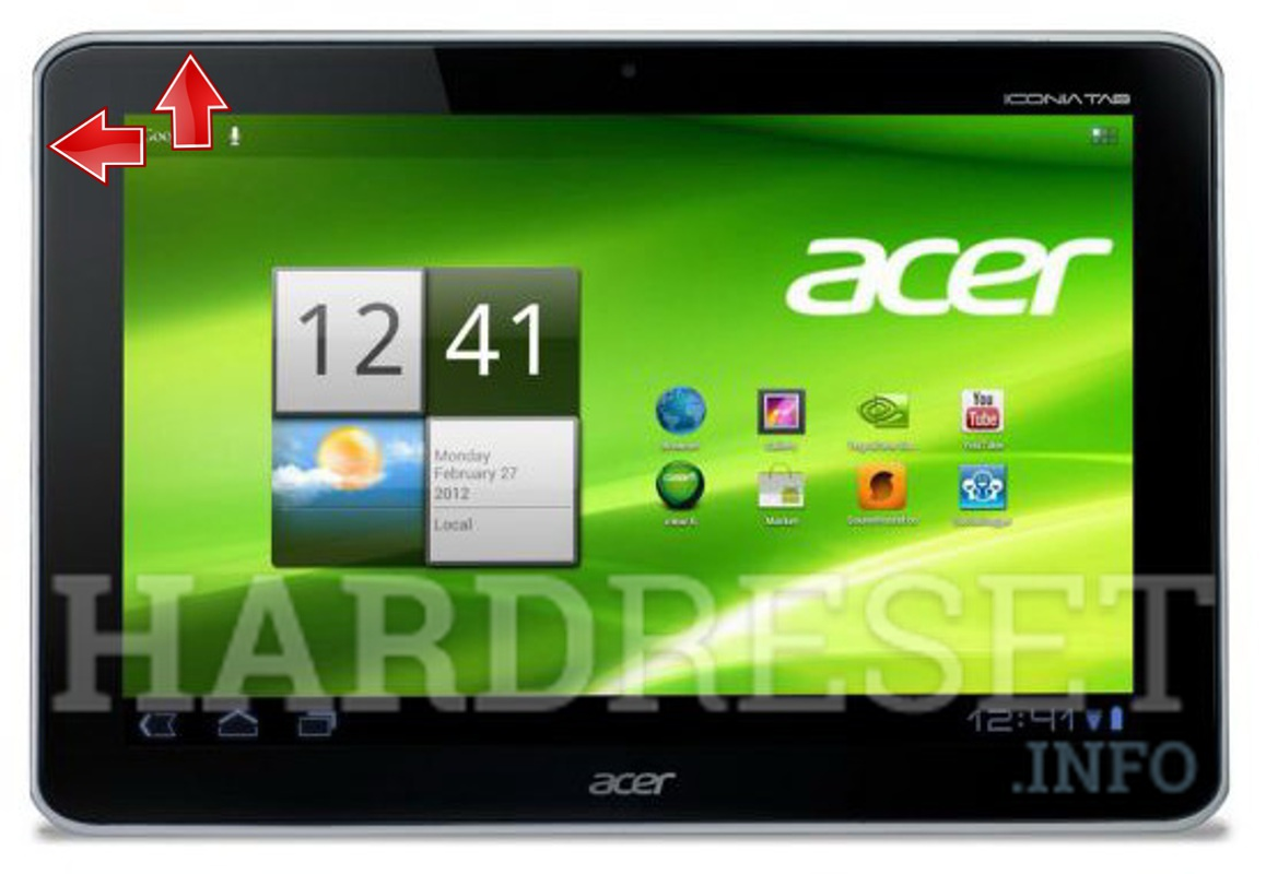 Factory Reset ACER A211 Iconia Tab