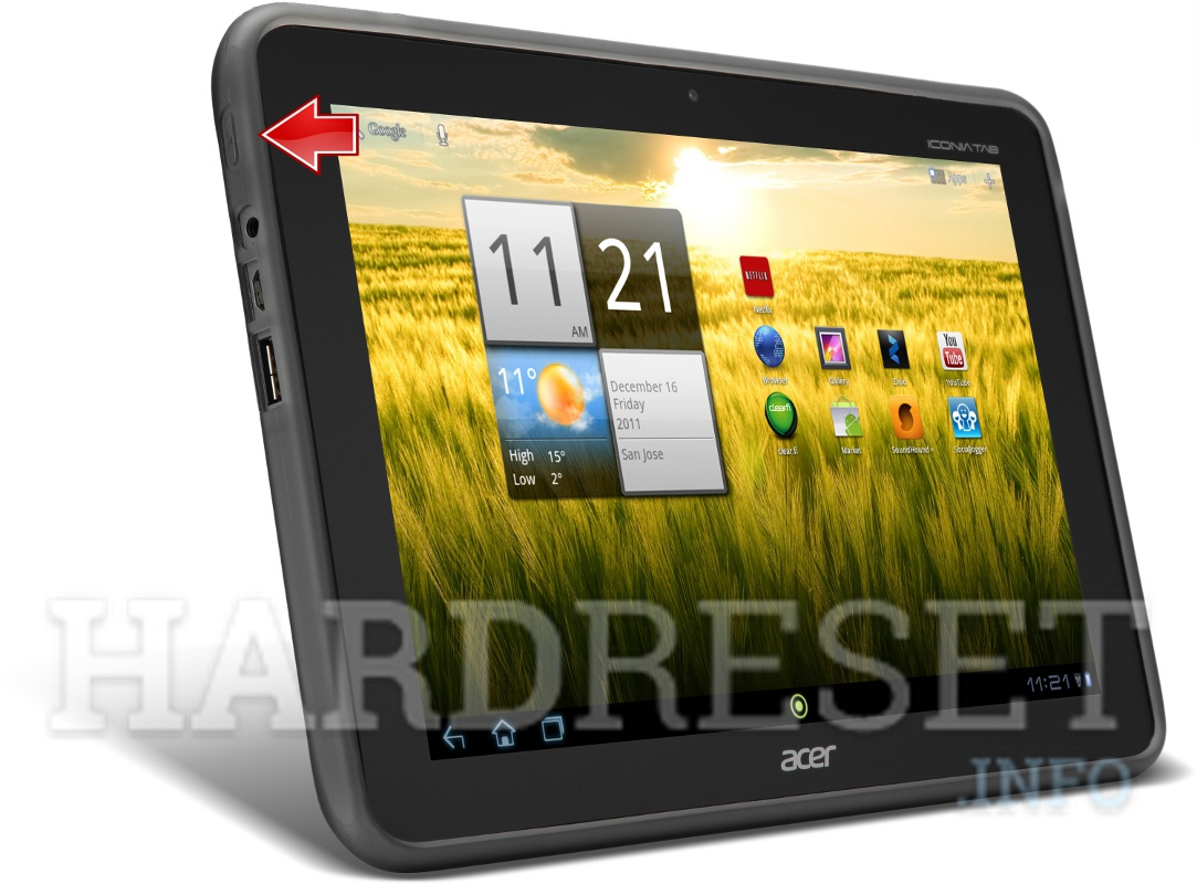 Hard Reset ACER A200 Iconia Tab