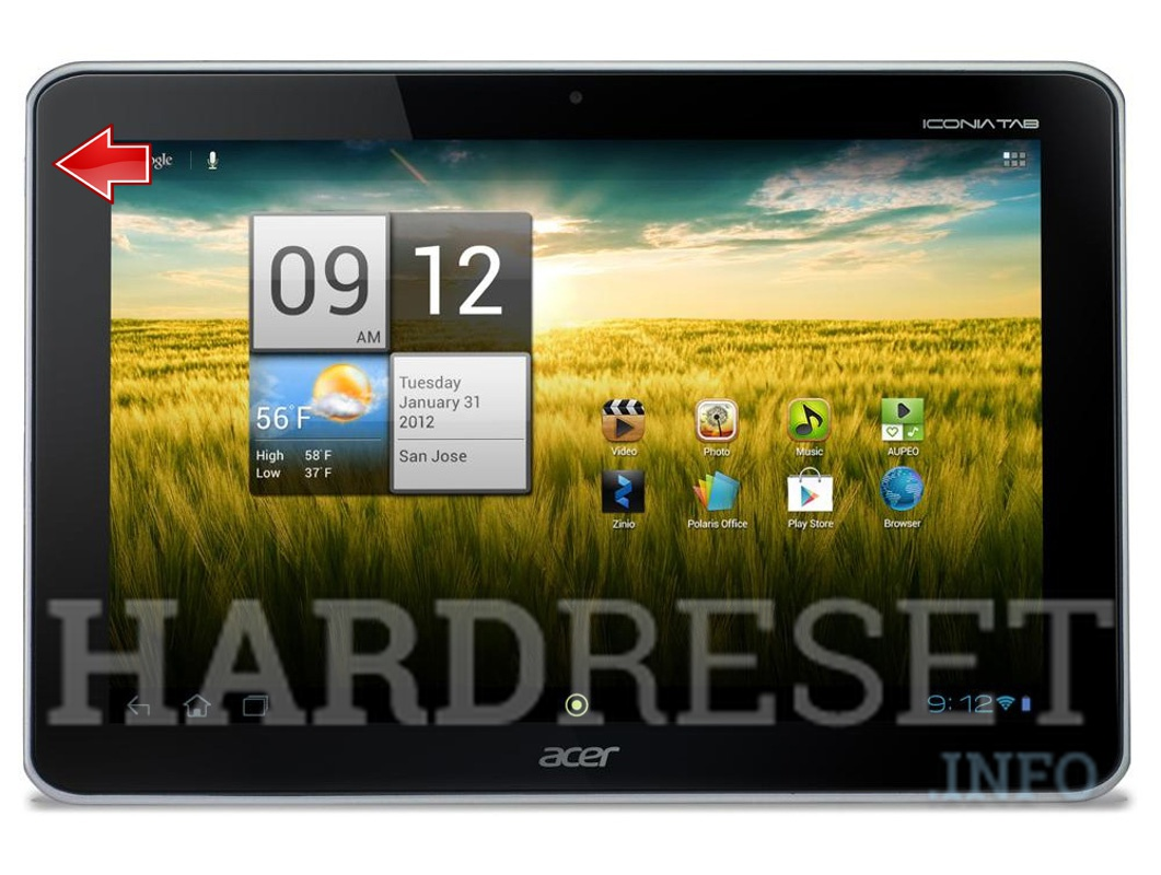Hard Reset ACER A210 Iconia Tab