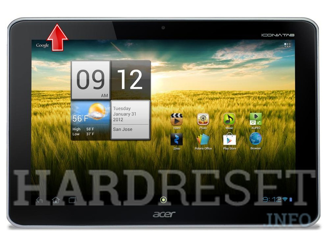 Format ACER A210 Iconia Tab