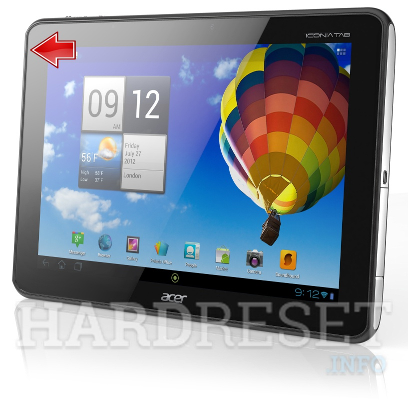 Hard Reset ACER A510 Iconia Tab
