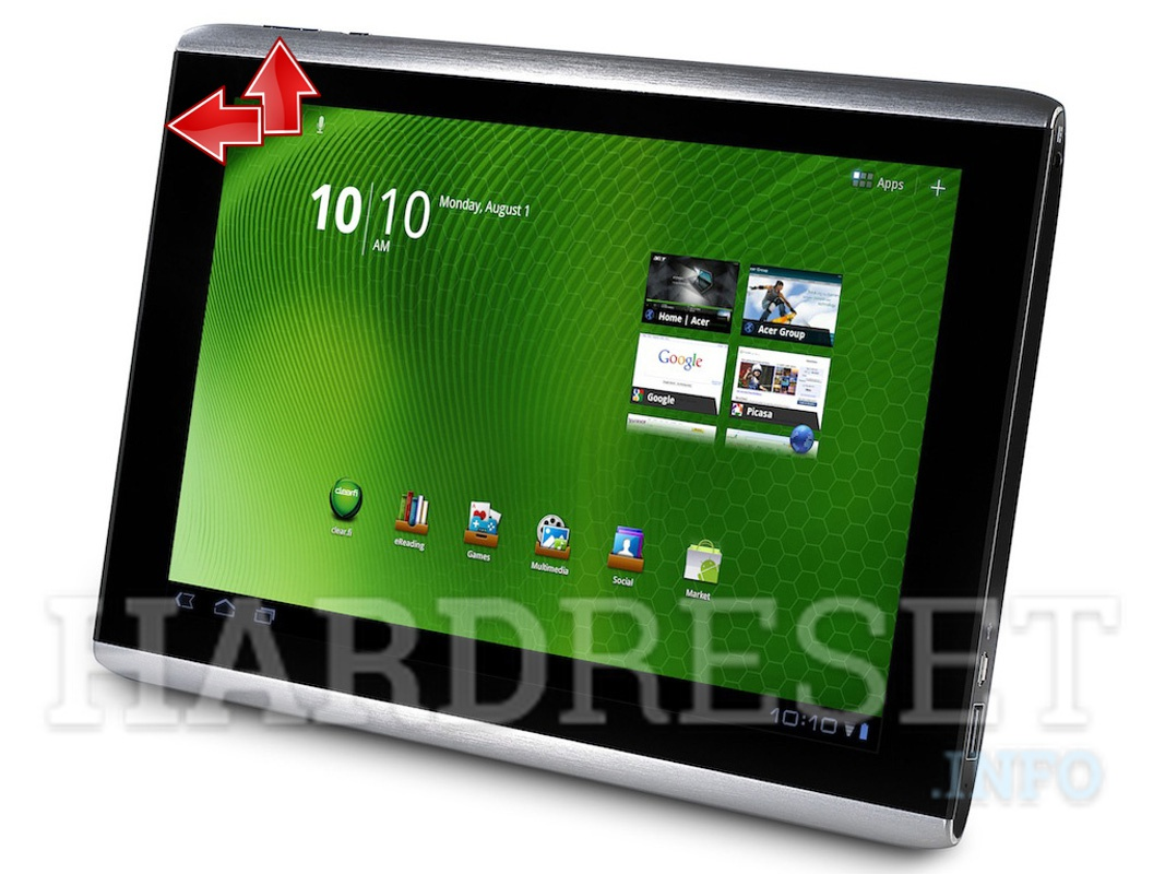 Factory Reset ACER A500 Iconia Tab