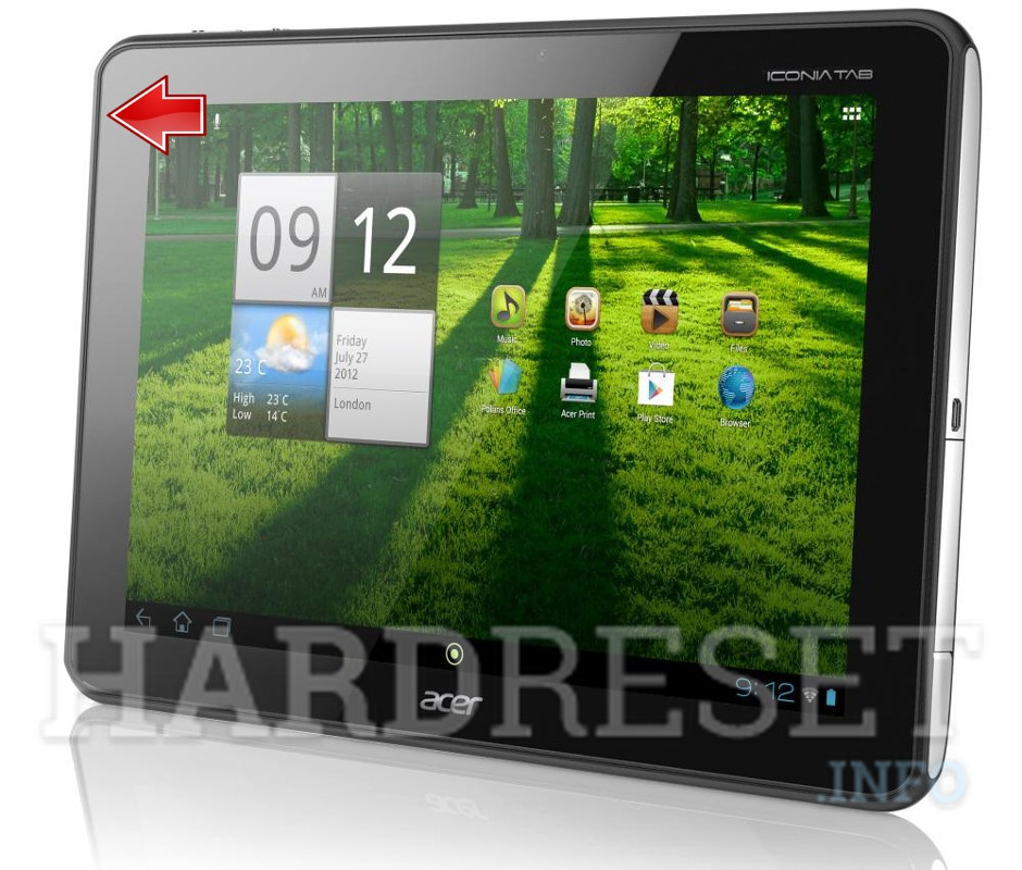 Hard Reset ACER A700 Iconia Tab