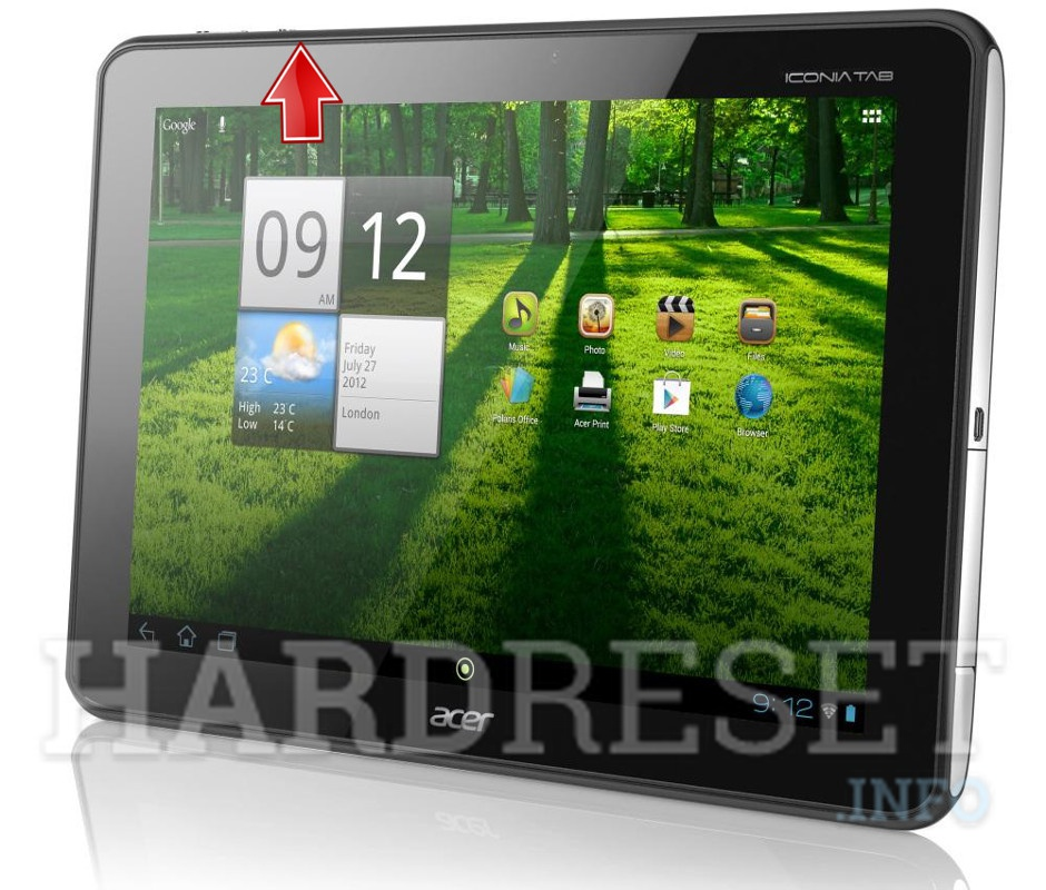 Master Reset ACER A700 Iconia Tab