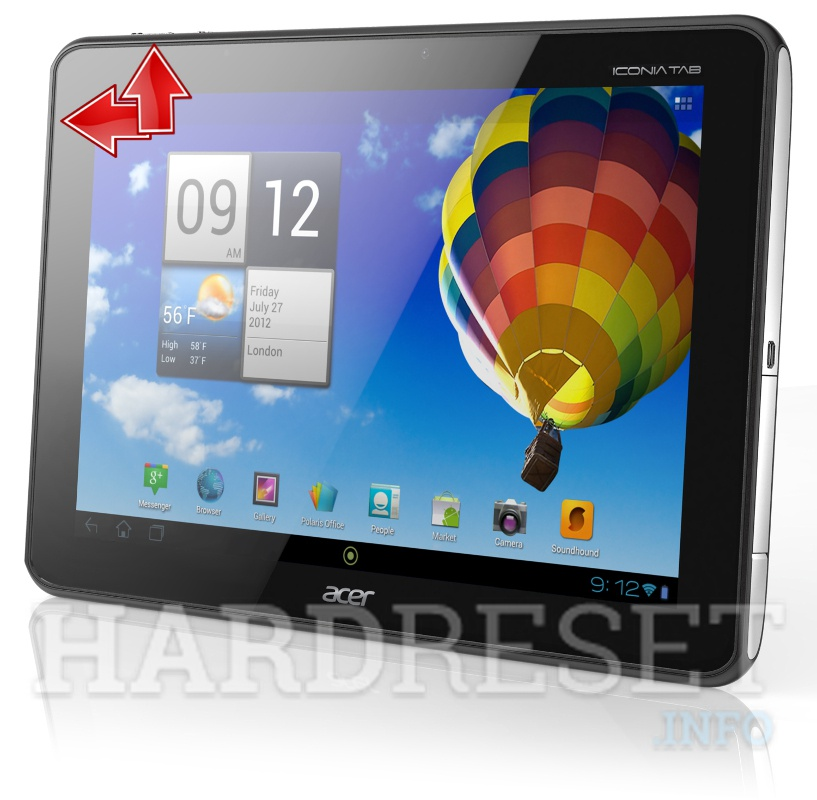 Factory Reset ACER A511 Iconia Tab