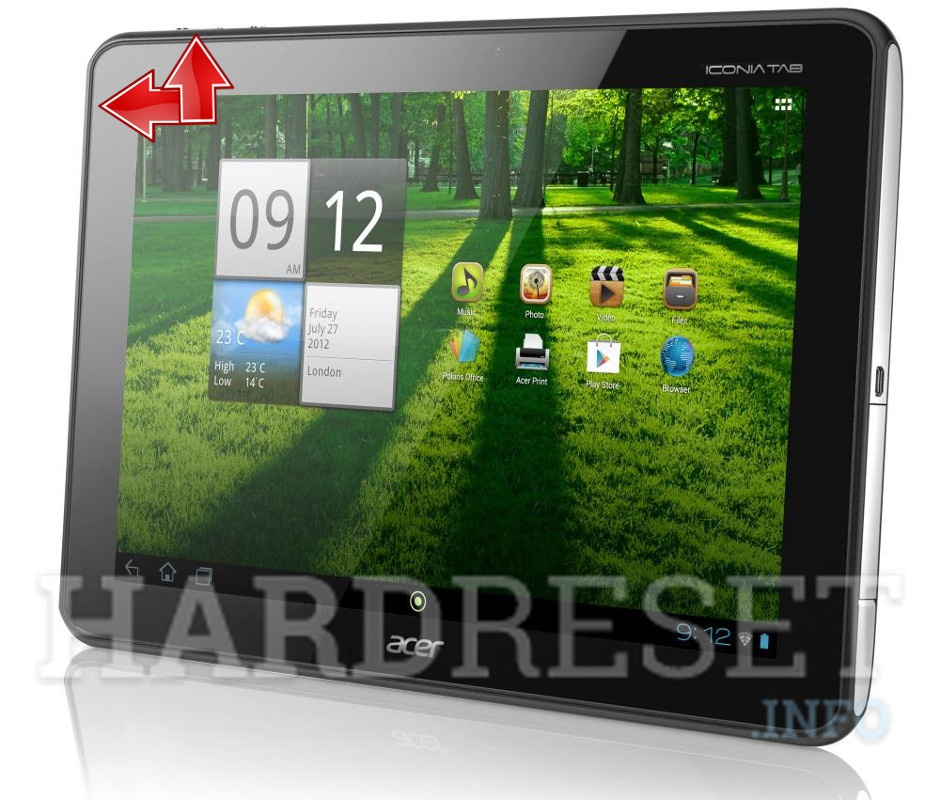 Factory Reset ACER A701 Iconia Tab