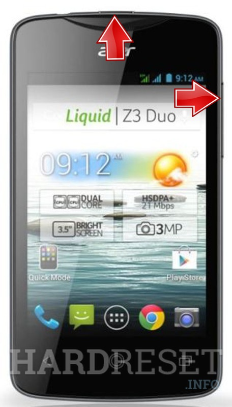Wipe data ACER Liquid Z3