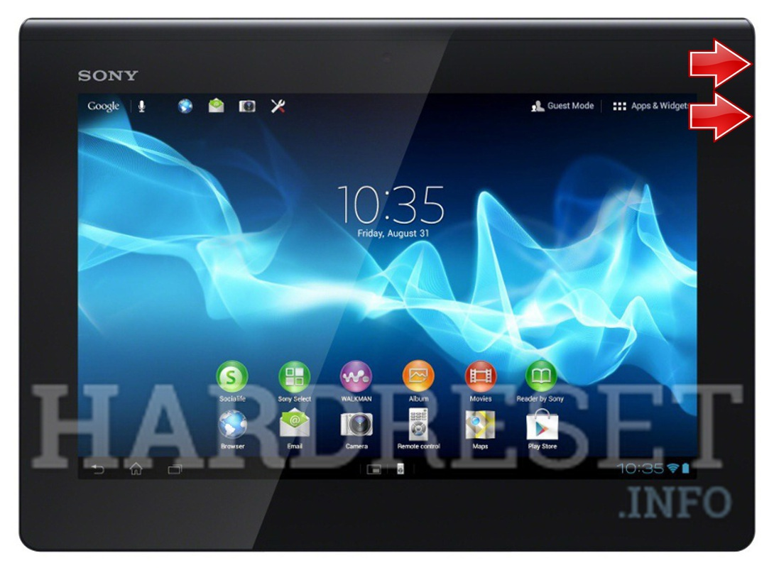 Factory Reset SONY Xperia Tablet S