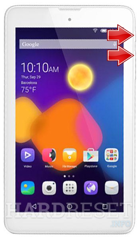HardReset ALCATEL 8057 One Touch Pixi 3 (7) WiFi