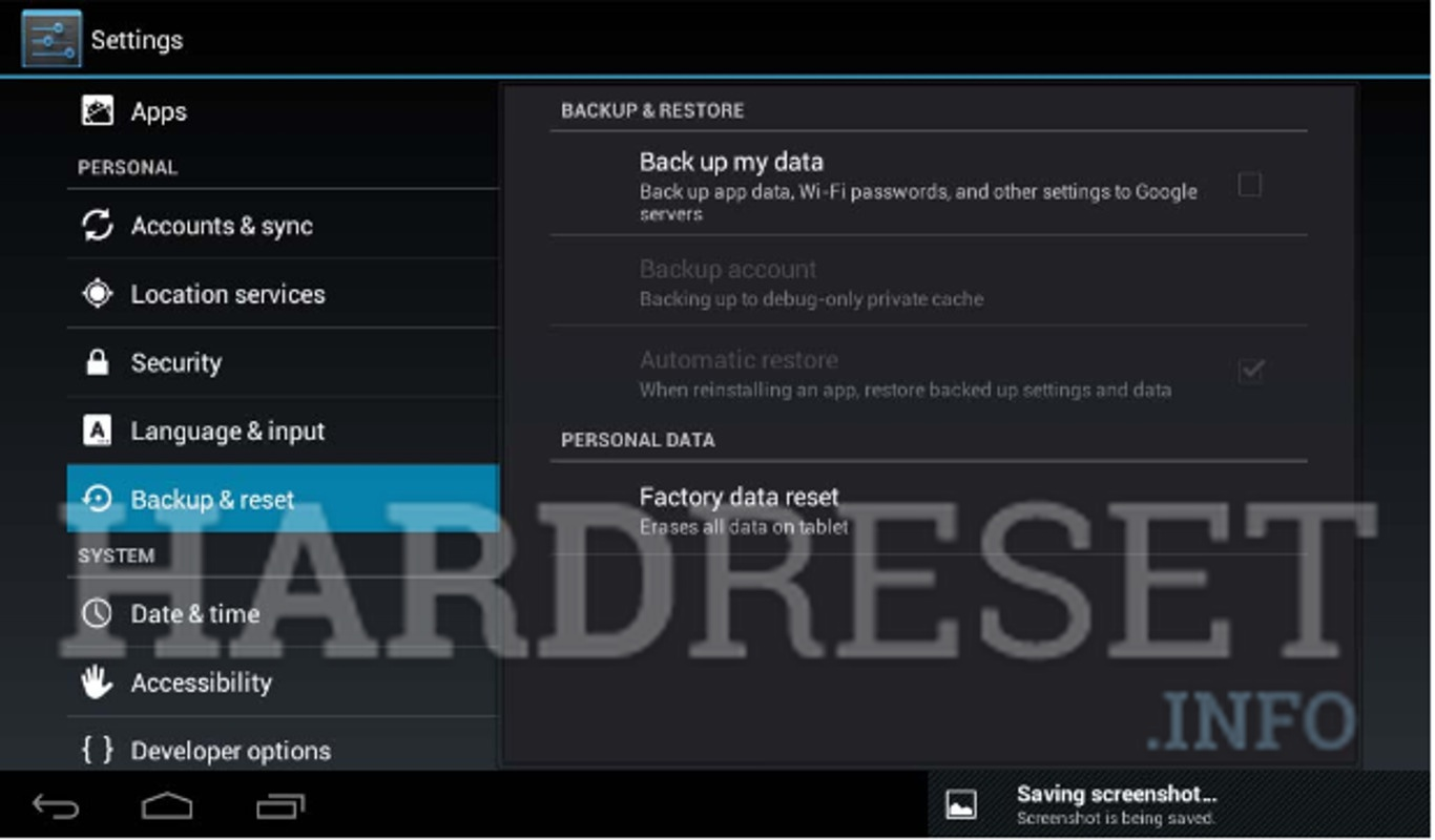 "Wipe data on INTENSO 7"" TAB 744"
