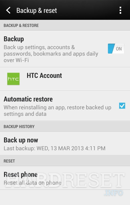 Factory Reset HTC One M9