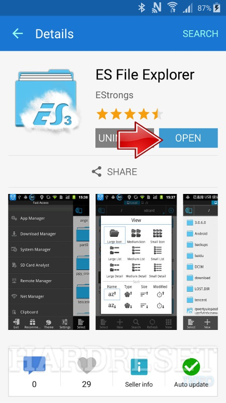 SAMSUNG J200F Galaxy J2 Open ES File Explorer
