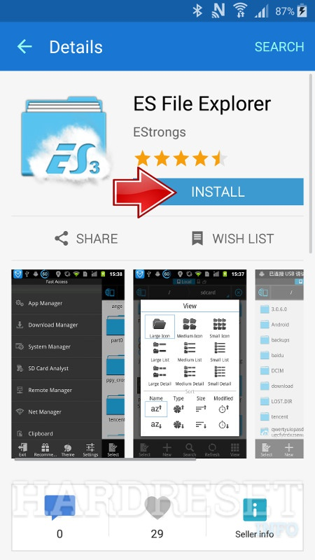 SAMSUNG J700F Galaxy J7 Install ES File Explorer