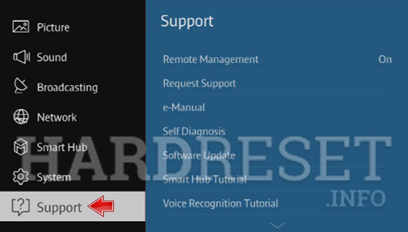 Аппаратный сброс SAMSUNG Smart TV