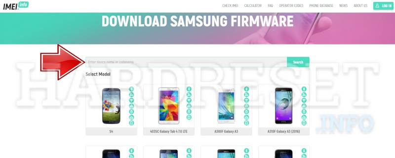 imei.info Samsung Download Firmware model select