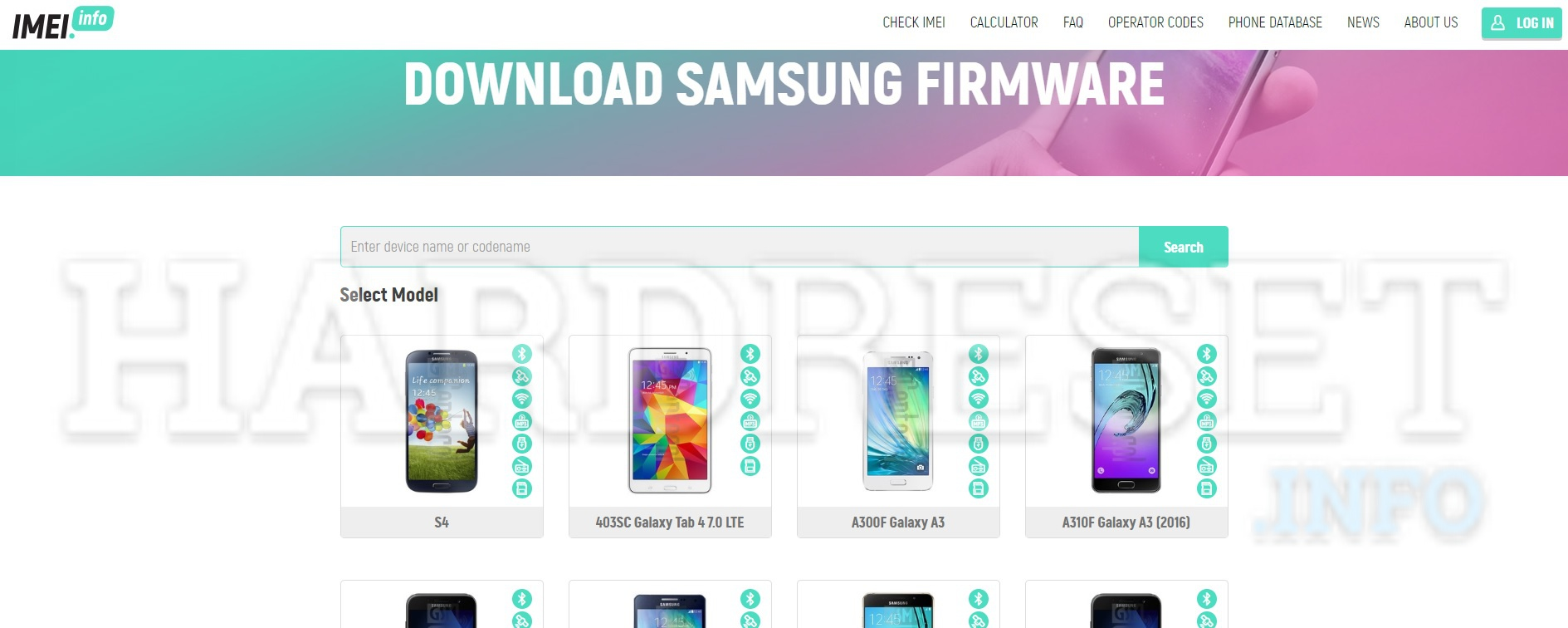 imei.info Samsung Download Firmware page