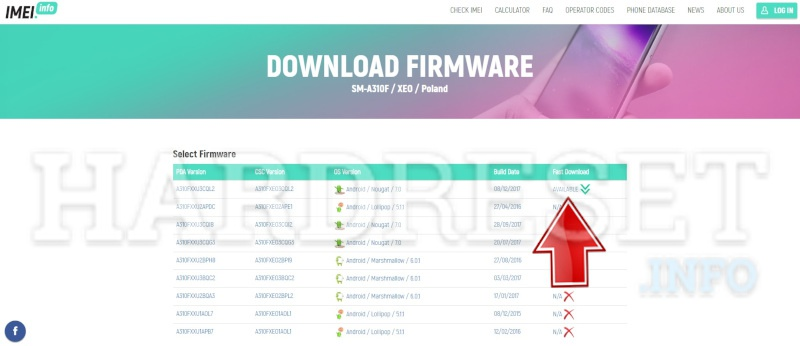 imei.info Samsung Download Firmware download button