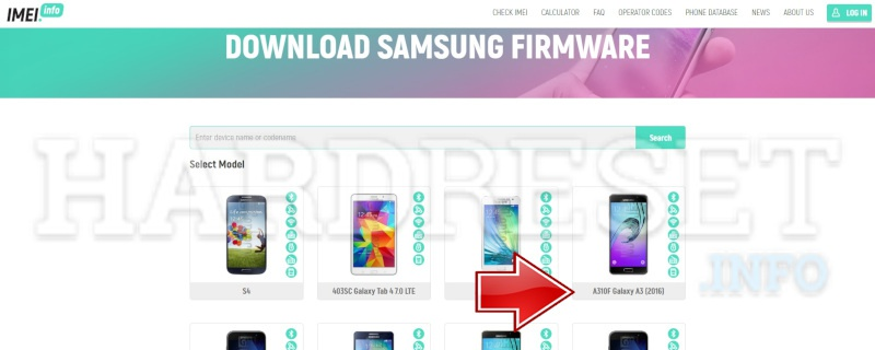 imei.info Samsung Download Firmware exacly model select