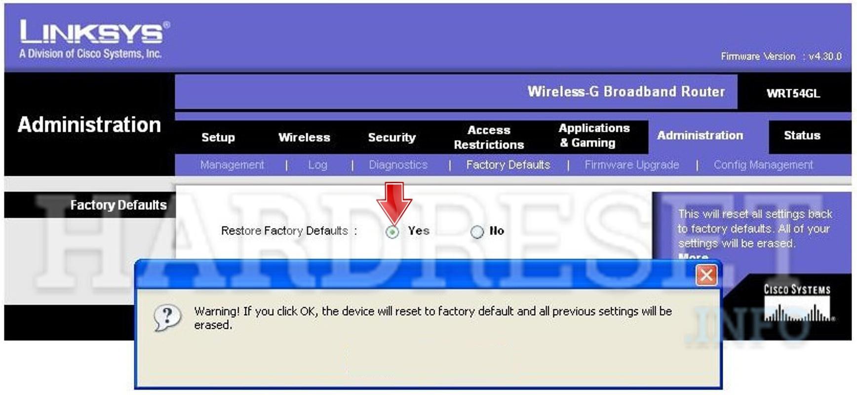 Hard Reset LINKSYS Router - HardReset info