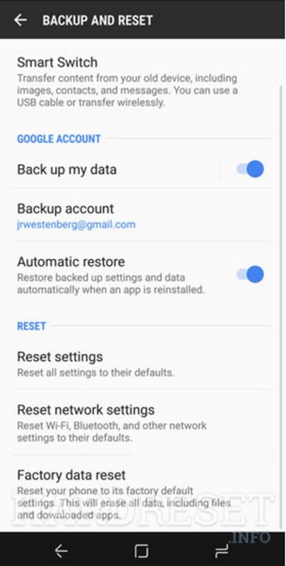 Reset Settings SAMSUNG Galaxy Note8 - HardReset info