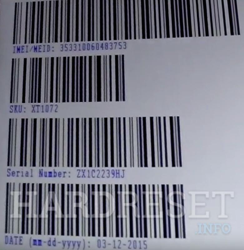 Barcodes MOTOROLA Moto M XT1663 - HardReset info