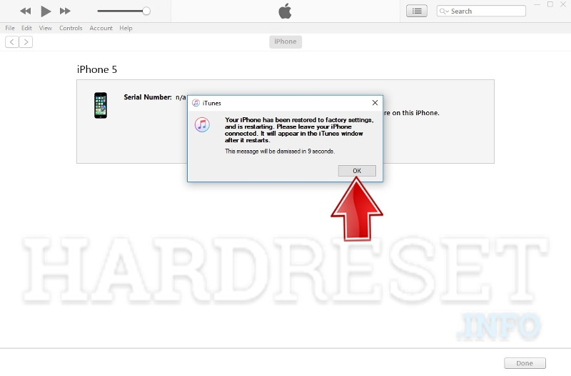 itunes restoring iphone process end success