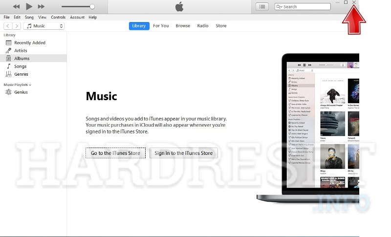 itunes close after firmware update end