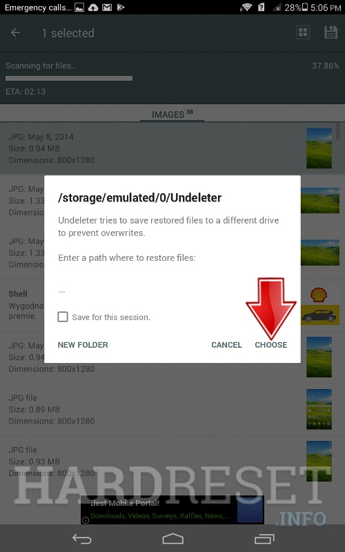 choose button to restore file in selected location