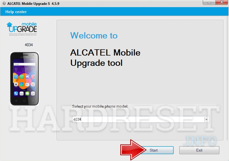 Alcatel Phone Update Tool start button