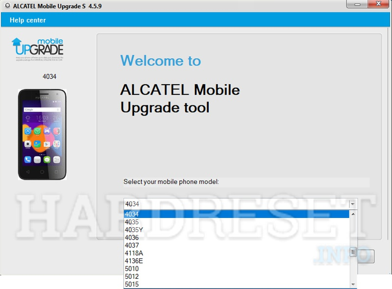 Alcatel Phone Update Tool model select start button