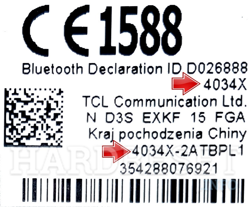 alcatel phone label
