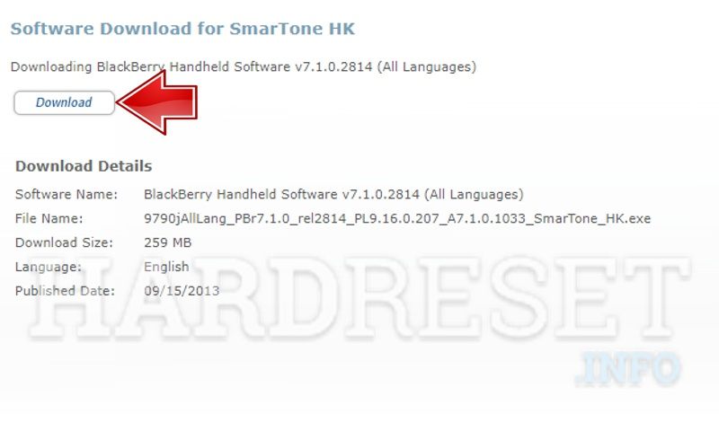 Blackberry firmware download page final download button