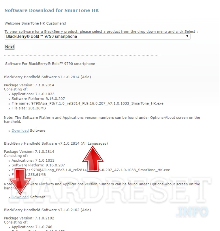 Blackberry firmware download page model select