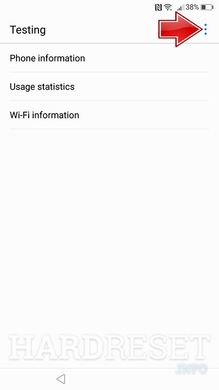 huawei service menu phone information more button arrow