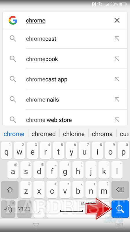 google seach enter chrome in search filed search button press