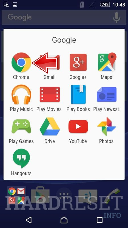 chrome app in all aplication menu in sony phone