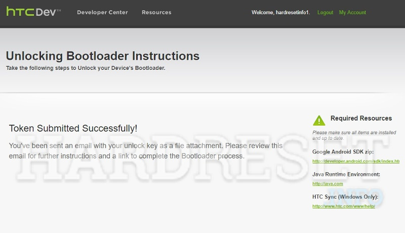 HTC developer page starting bootloader unlock code process part10