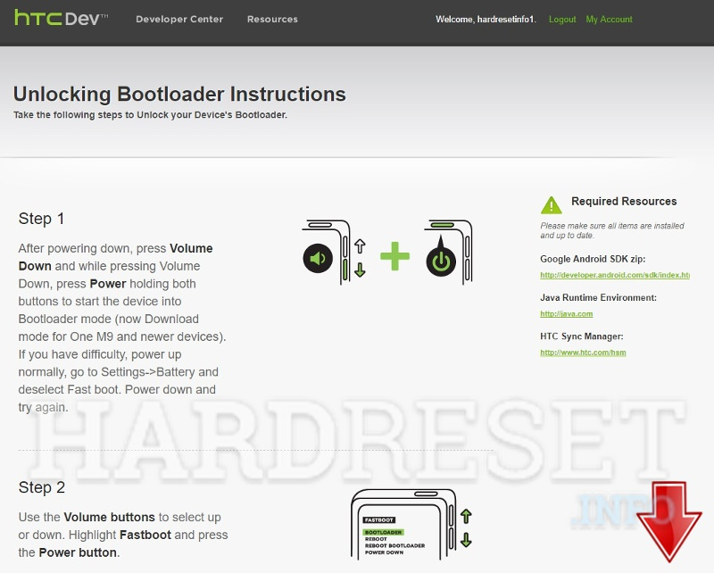 HTC developer page starting bootloader unlock code process part5