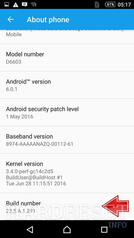Firmware version in About phone menu