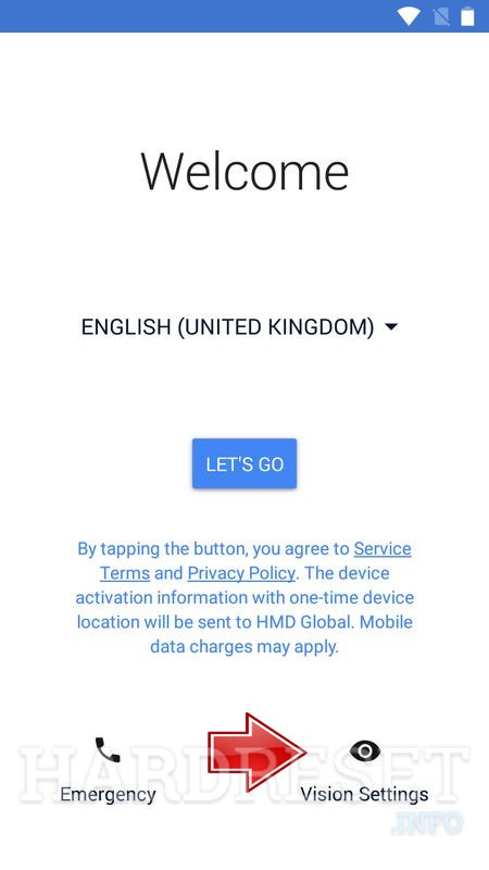Nokia 5 welcome screen Visual Aids button