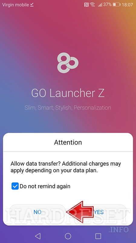 go luncher opened asking to data transfer