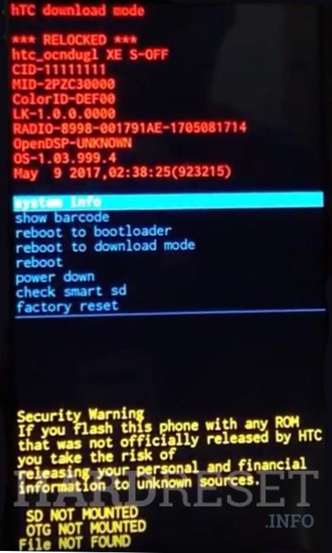 Bootloader Mode HTC U12 - HardReset info