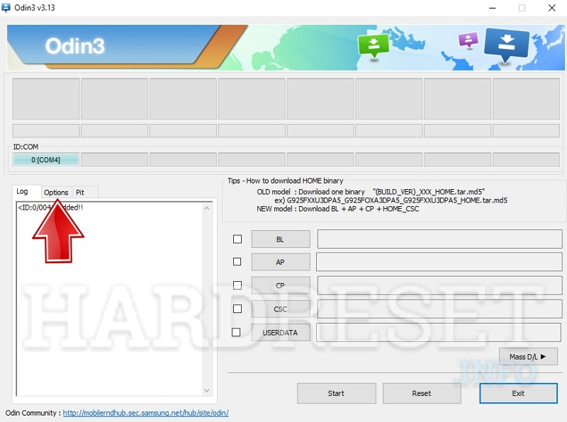 Odin software select option button