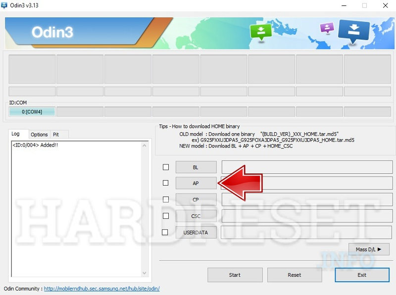 Odin software select custom recovery file like AP