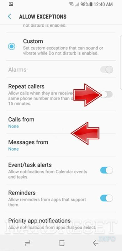 Do Not Disturb Mode SAMSUNG Galaxy SM-J250N J2 Pro (2018