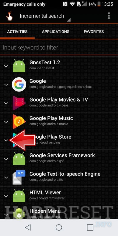 LG Q6 select on list Google Play Store application and drop-down menu open